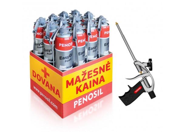 Statybinės putos Penosil EasyGun Foma, 12vnt. x 750 ml + pistoletas