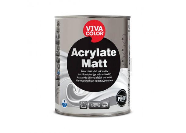 Dažai Vivacolor Acrylate Matt, sienoms, atsparūs dilimui, 2.7 L