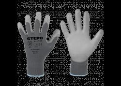 Nailoninės darbo pirštinės PU-EKO, nailoninės, aplietos poliuretanu - pilkos